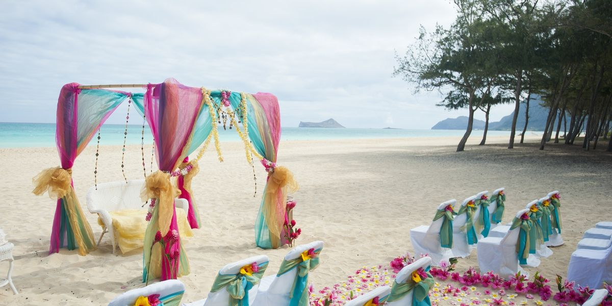 Indian Beach Wedding Hawaii Gold And Dark Pink