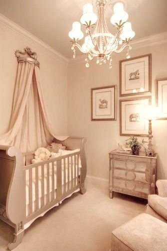 elegant baby furniture. Elegant Baby\u0027s Nursery With Mirrored Furniture And Sleigh Crib Baby