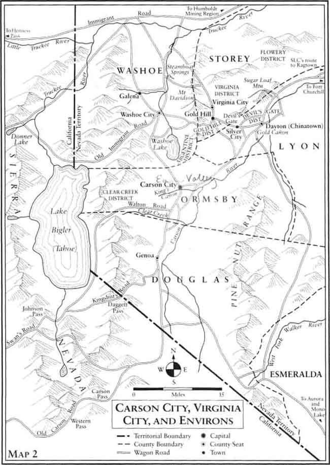 Carson City, Virginia City, and Environs Map 1864 | Nevada History ...