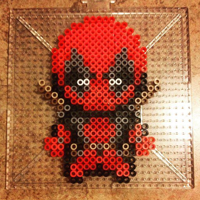 Marvel Comic Deadpool Riding A Unicorn Perler Beads Bugelperlen