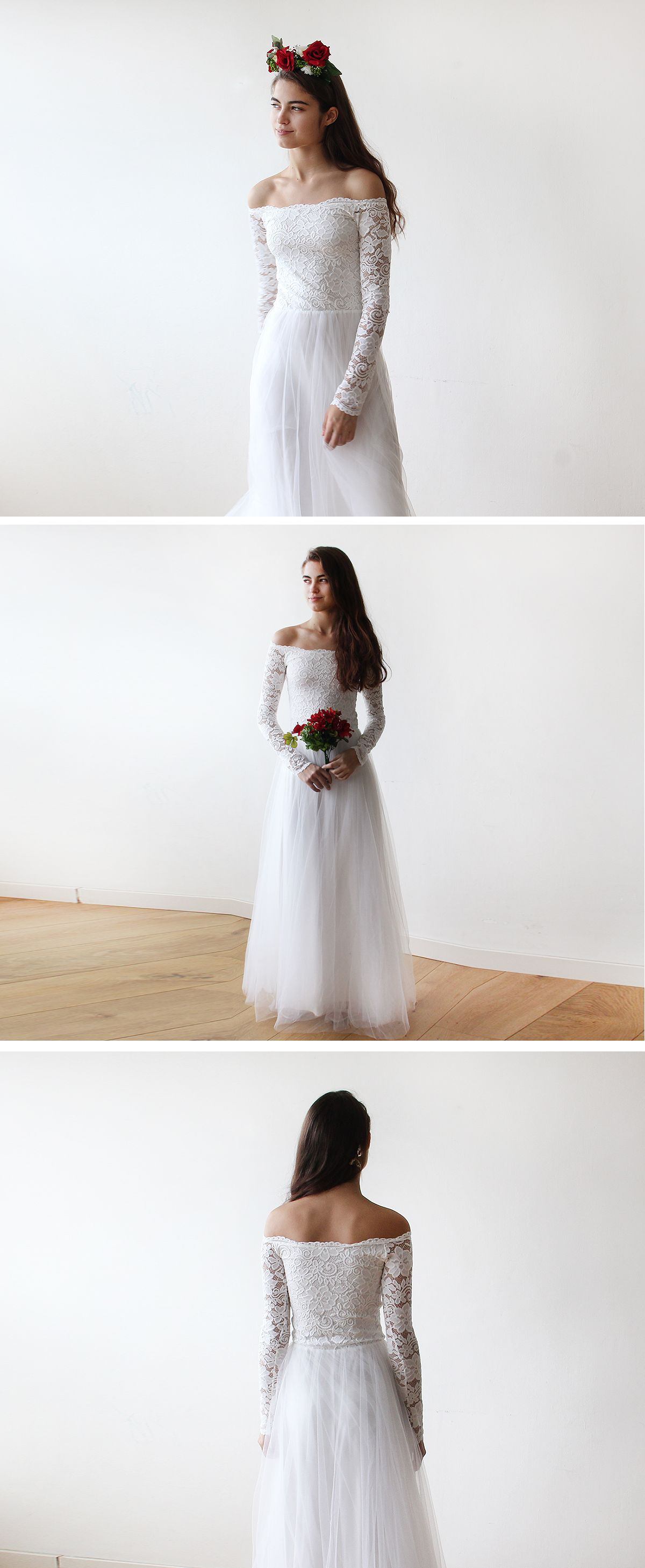 Off-The-Shoulder Ivory Lace and Tulle Wedding Maxi Dress – Snow ...