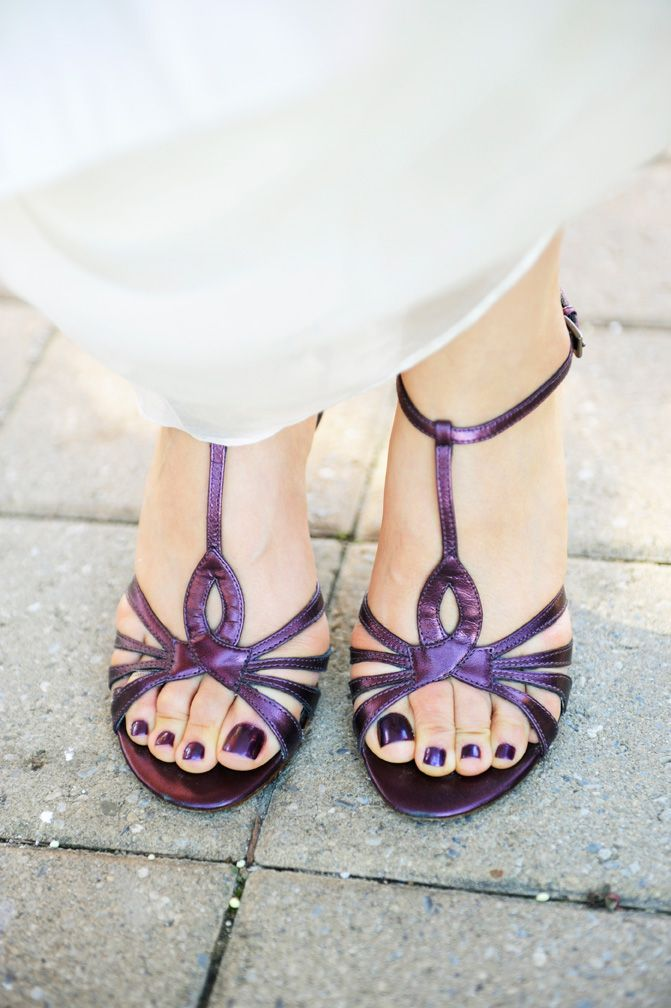 Purple wedding shoes, strap sandals, open toes, copyright www.tamimcinnis.com