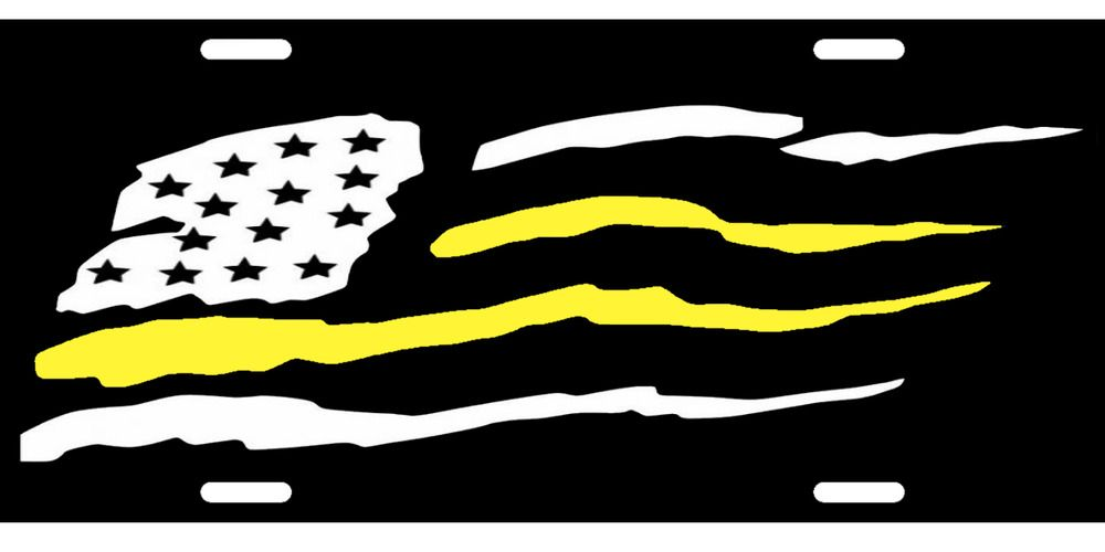 American Flag Black And White Yellow Lives Matter Novelty License Plate Interesting Novelty License Plates American Flag License Plate