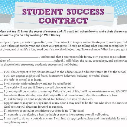 Student Success Contract  Teacher Resources    Student