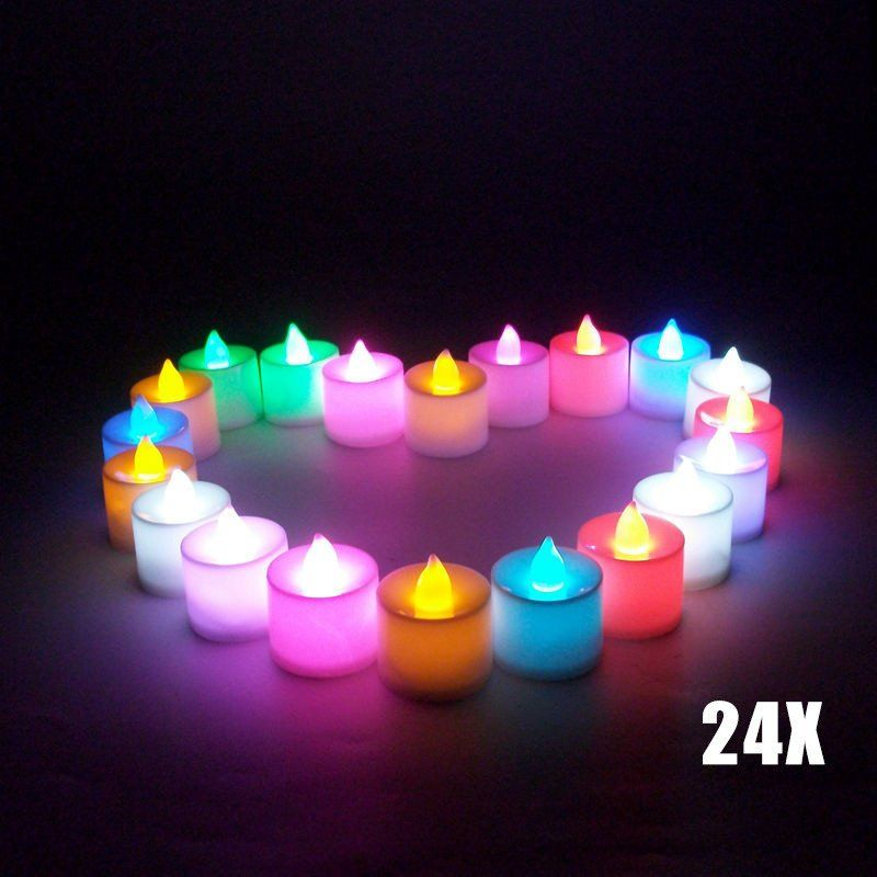 24Pcs Flameless Electronic Candle Lamp Tea Light f Xmas Party Romance Valentine