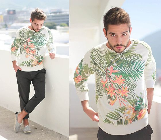 Zara Tropical Print, Zara Asymmetric Chino, Yaya Striped #fashion #mensfashion #menswear #style #outfit