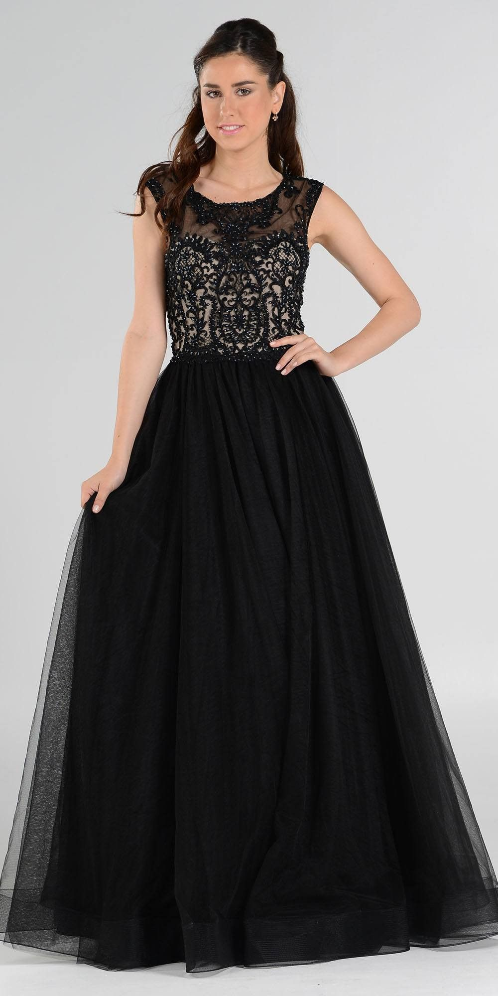 Embroidered Top Layered Mesh Skirt Sleeveless Black Ball Gown ...