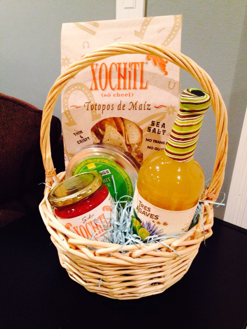 Mexican themed gift basket includes chips and salsa salt and margarita mix & Mexican themed gift basket includes chips and salsa salt and ...