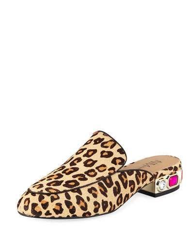ab82e559015 X4CUN Neiman Marcus Adria Animal-Print Jeweled-Heel Slide Mules ...