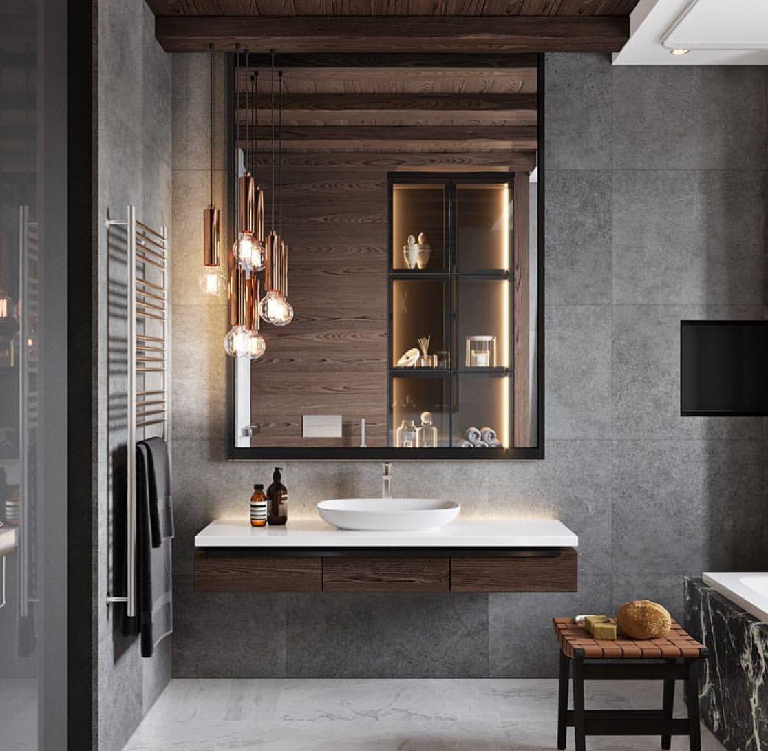 we like the whole bathroom - lights, colors, height, beams ...
