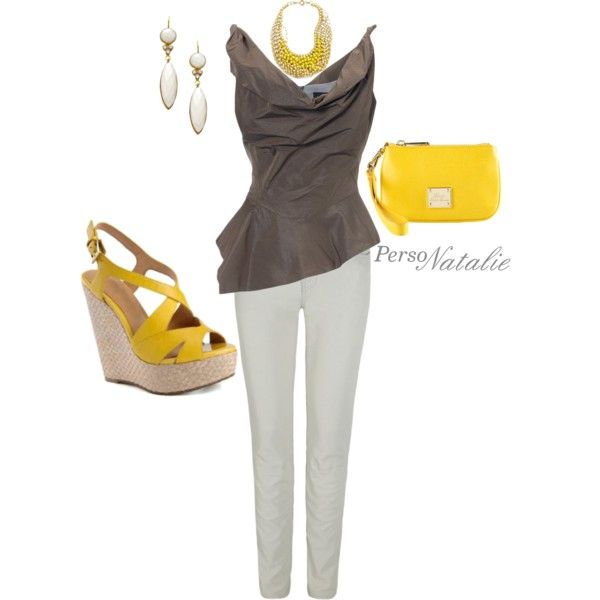 """""""Pop of yellow"""" by natalie-buscemi-hindman on Polyvore"""