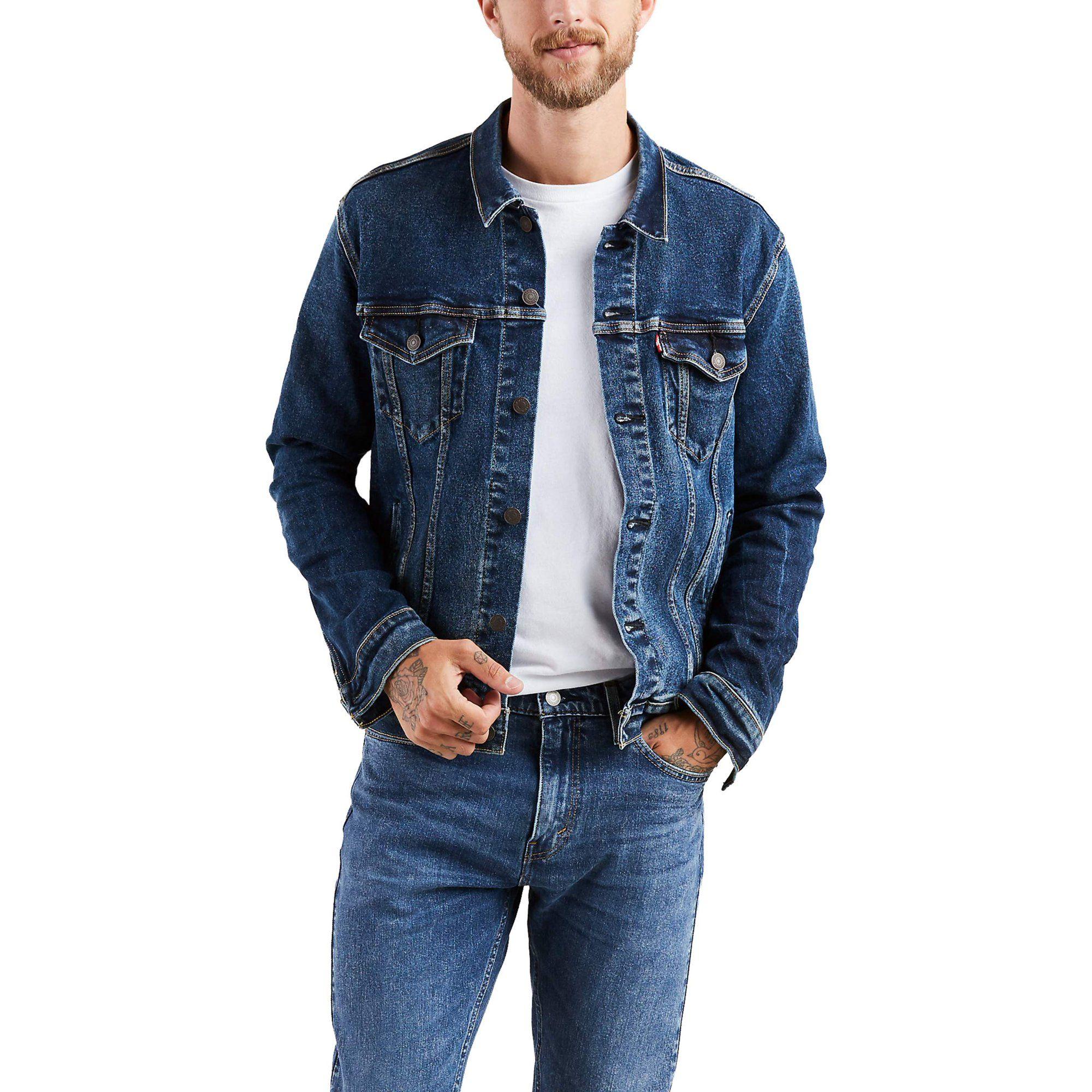 Levi S Levi S Men S Denim Trucker Jacket Walmart Com Tall Men Clothing Denim Jacket Mens Outfits [ 2000 x 2000 Pixel ]