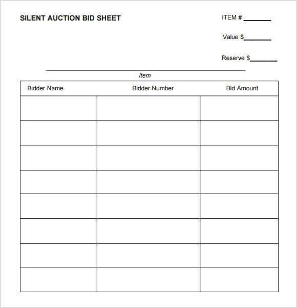 Silent Auction Bid Sheet Printable  Silent Auction