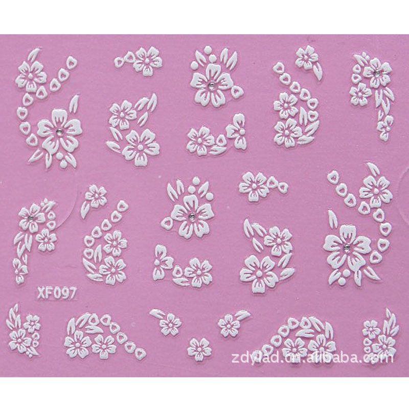 Fashion 3d Flower Design Water Transfer Nails Art Sticker Decals