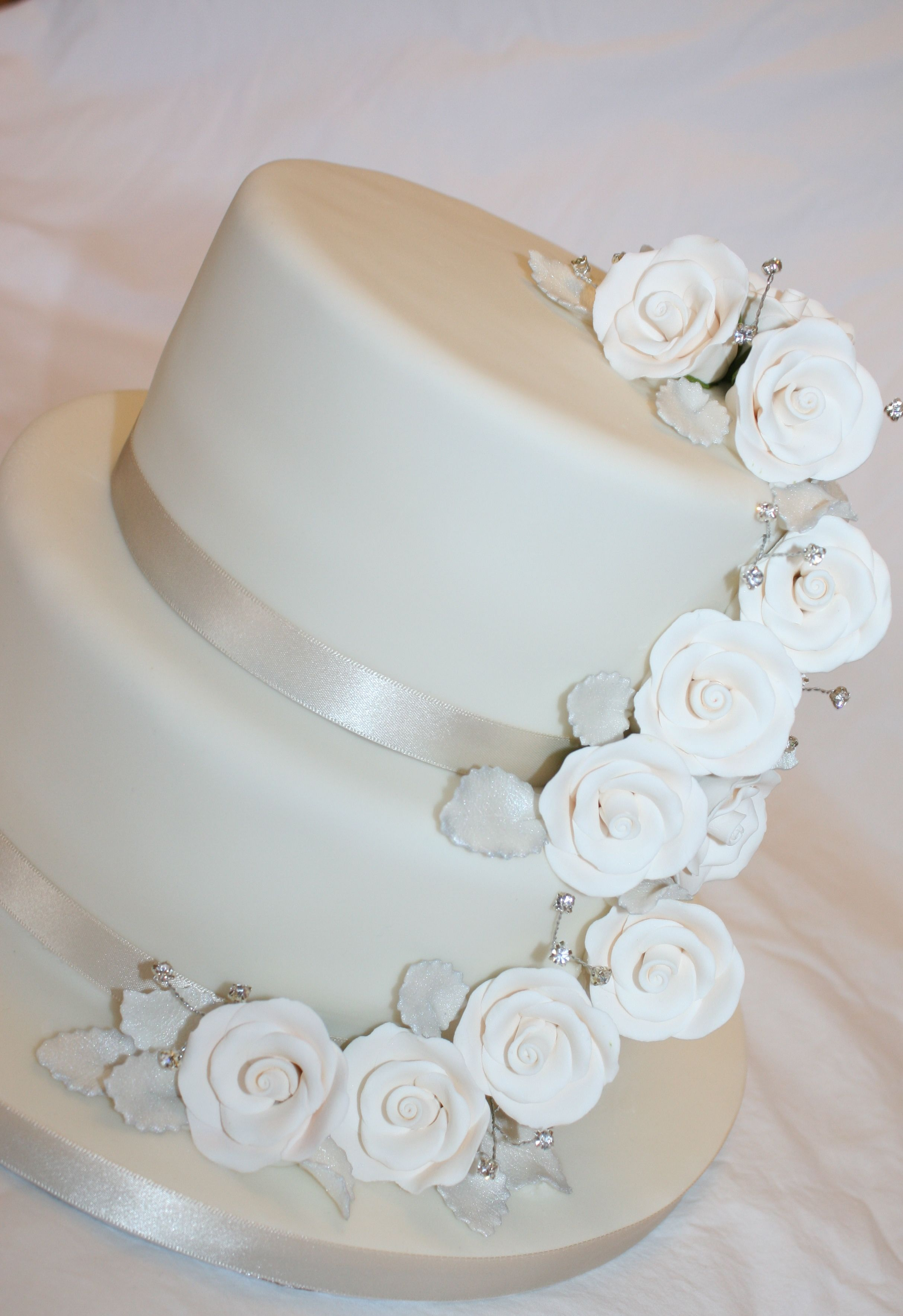 Simple Wedding Cake On A Budget With Pre Made Flowers Simple