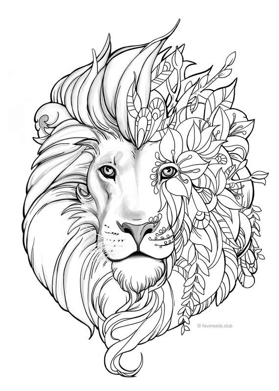 Fantasy Lion - Printable Adult Coloring Page from Favoreads (Coloring book pages for adults and kids, Coloring sheets, Coloring designs) #adultcoloringpages