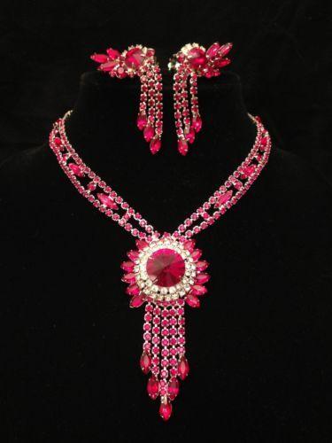 Fabulous Vintage Juliana Ruby Rivoli Rhinestone Dangle Bib Necklace Earrings | eBay