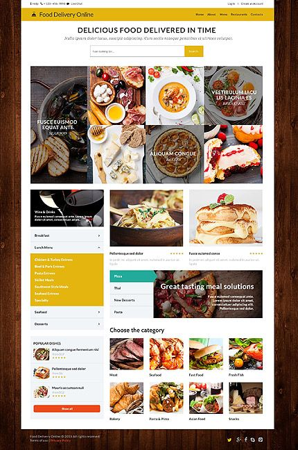 Food Delivery Website Template. 14 free premium restaurants cafes ...