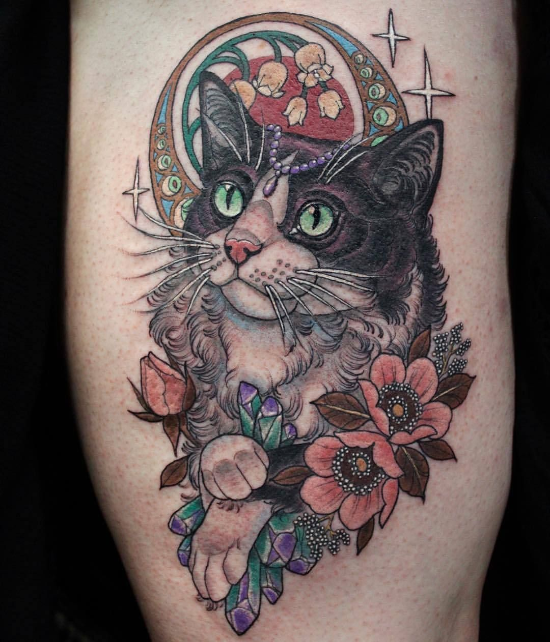 Art Nouveau Cat For Liana Based Off Of Her Cat At Deathless Tattoos Cat Tattoo Designs Art Nouveau Cat Cat Portrait Tattoos