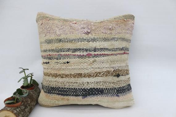 16x16 Living Room Pillow, Couch Kilim Pillow, Striped Pillow, Beige Pillow, Square Pillow Cover, Ott