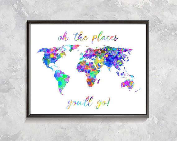Rainbow world map print world map watercolor map wall decor home rainbow world map print world map watercolor map wall decor home decor positive quote print world map poster nursery decor kids room gumiabroncs Gallery