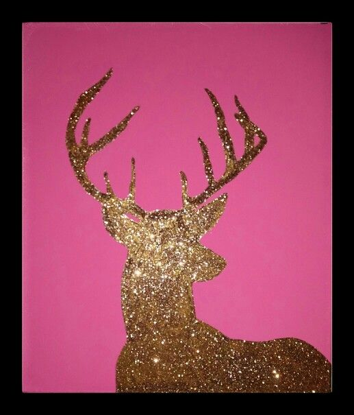 Pink and gold deer painting I designed for my daughter\'s camo themed ...