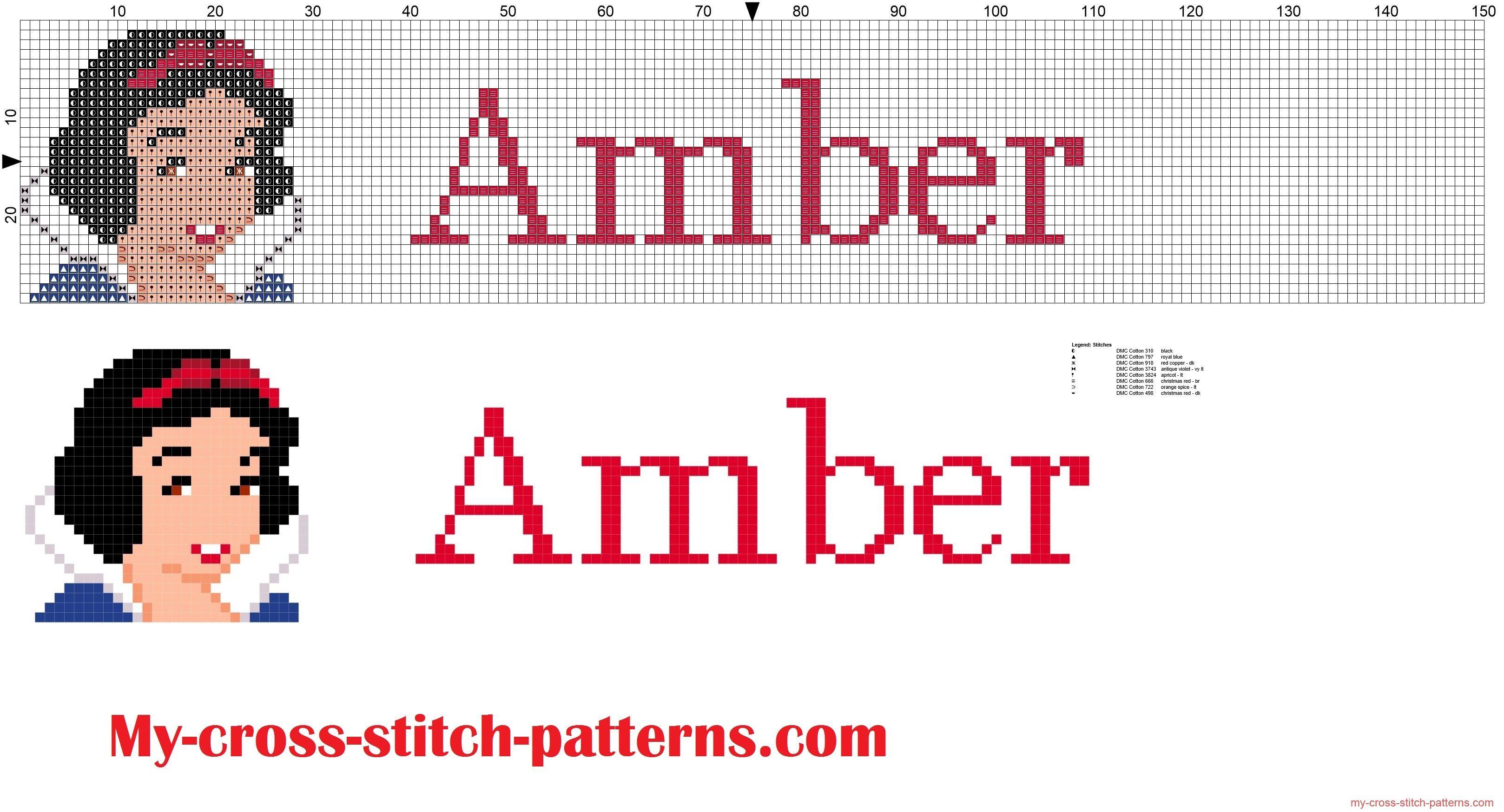 Amber cross stitch pattern name with Disney Princess white snow ...