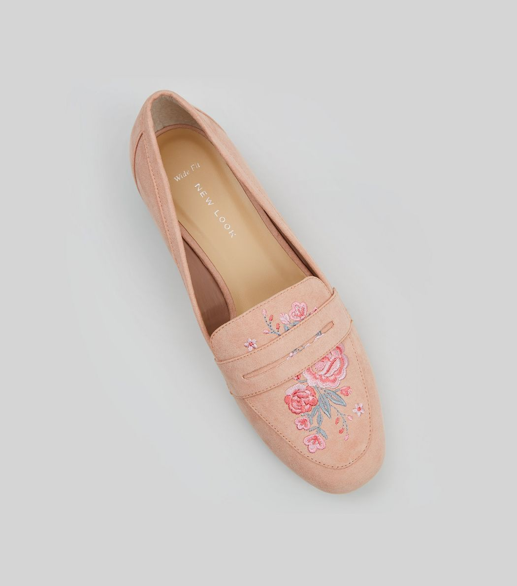 Wide Fit Pink Suedette Embroidered Loafers | New Look