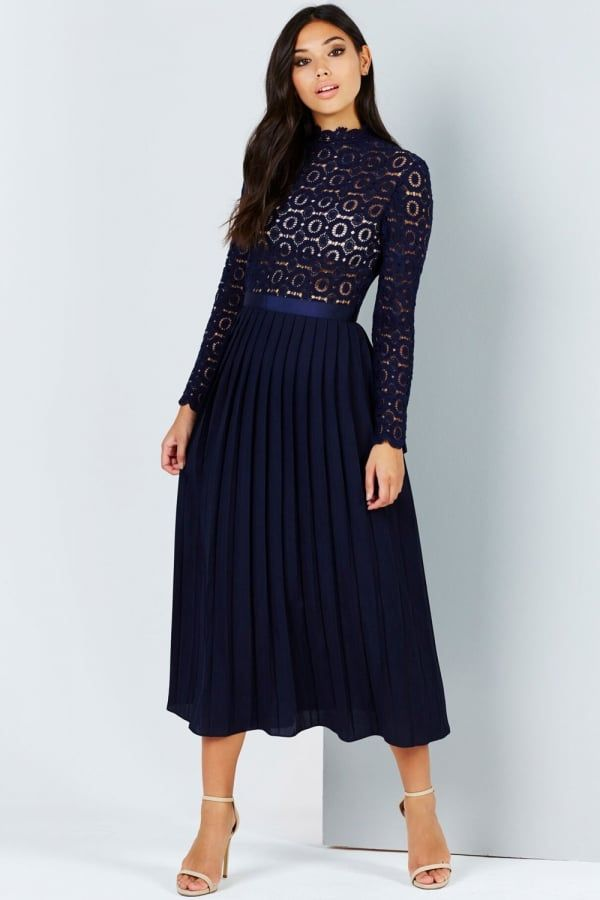 9933348127b74 Little Mistress Navy Crochet Lace Midi Dress With Pleats | What to ...