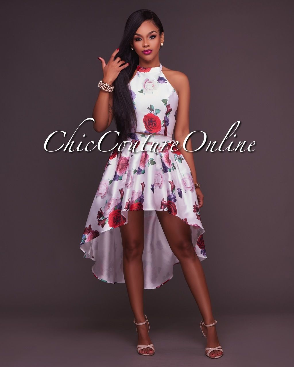 Chic Couture Online - Monicka Sheen Red Off-White Multi-Color Floral ...