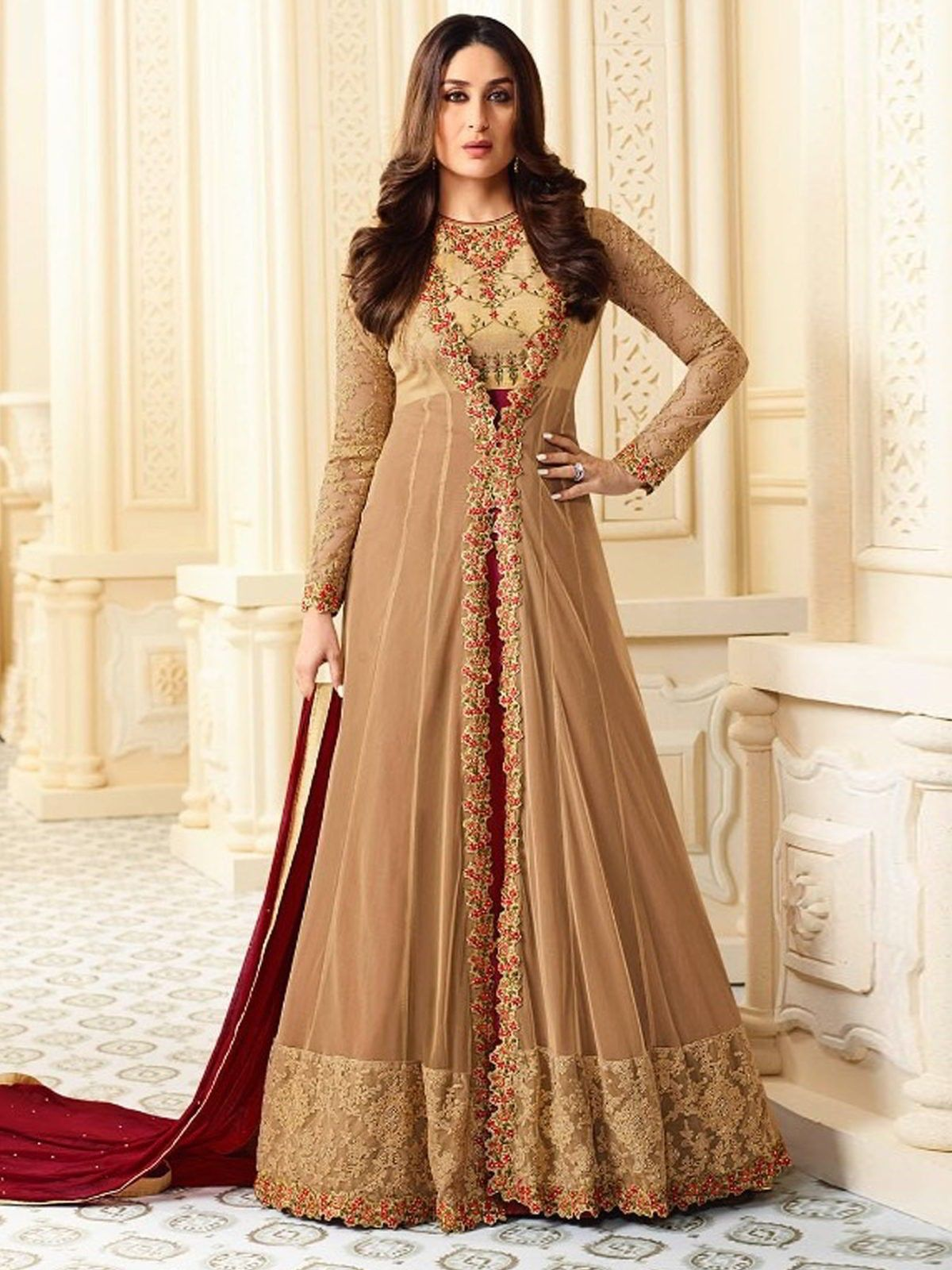Kareenakapoor beige georgette anarkalisuit latest anarkali suits