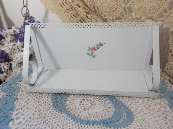 Cottage Chic Rose White Metal Shelf with Pink Rose On it  : )
