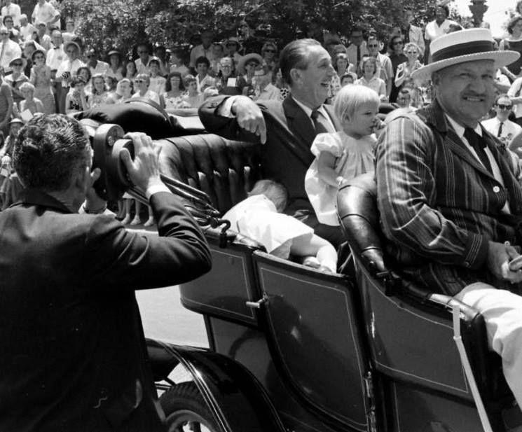 Walt Disney at Disneyland with his grandchildren