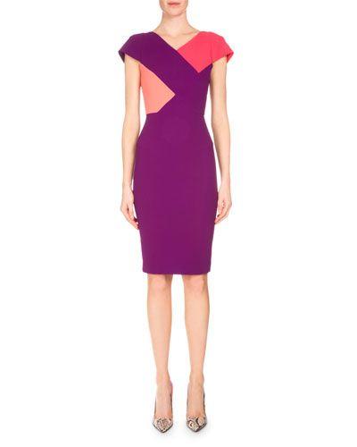 B39b7 roland mouret tournay colorblock sheath dress grape for Neiman marcus dresses for wedding guest