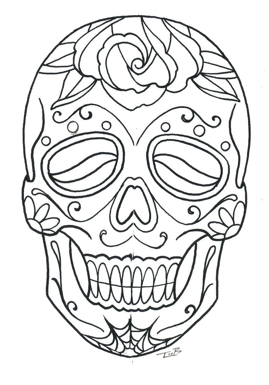 Images of Sadburro Color Your Own Day Of The Dead Skull ...