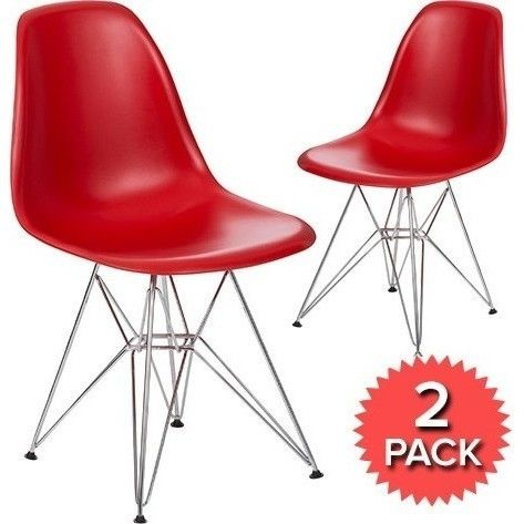 2x Replica Eames Dsr Plastic Dining Chair In Red Plastic Dining Chairs Chair Dining Room Chair Cushions