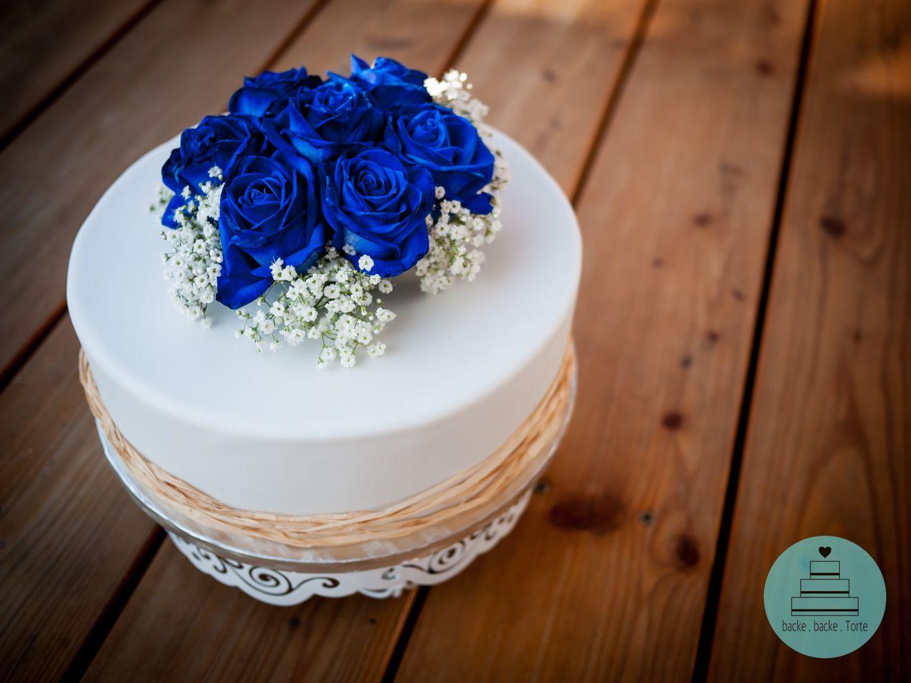 Hochzeitstorte Motivtorte Zu Hochzeit Standesamt Rosen Blau