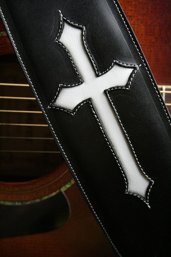 guitar strap black leather guitar strap with a white cross crosspoint guitar strap on etsy. Black Bedroom Furniture Sets. Home Design Ideas