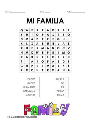 Crosswords Wordsearch Vocabulario Bsico De Los Miembros De La