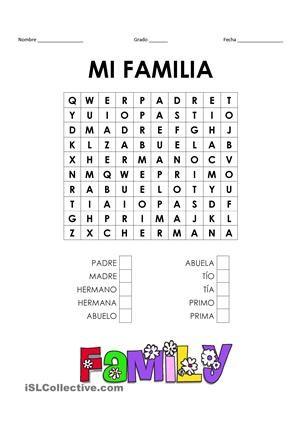 Crosswords & Wordsearch - vocabulario básico de los miembros de la ...