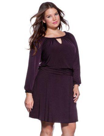 eloquii Long Sleeve Keyhole Dress Womens Plus Size Purple 14