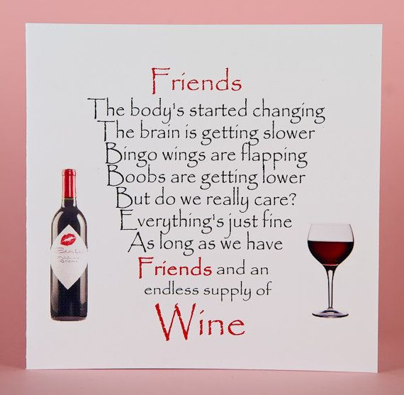 Friend Card Funny Friend Card Funny Card Wine Bingo Wings Funny