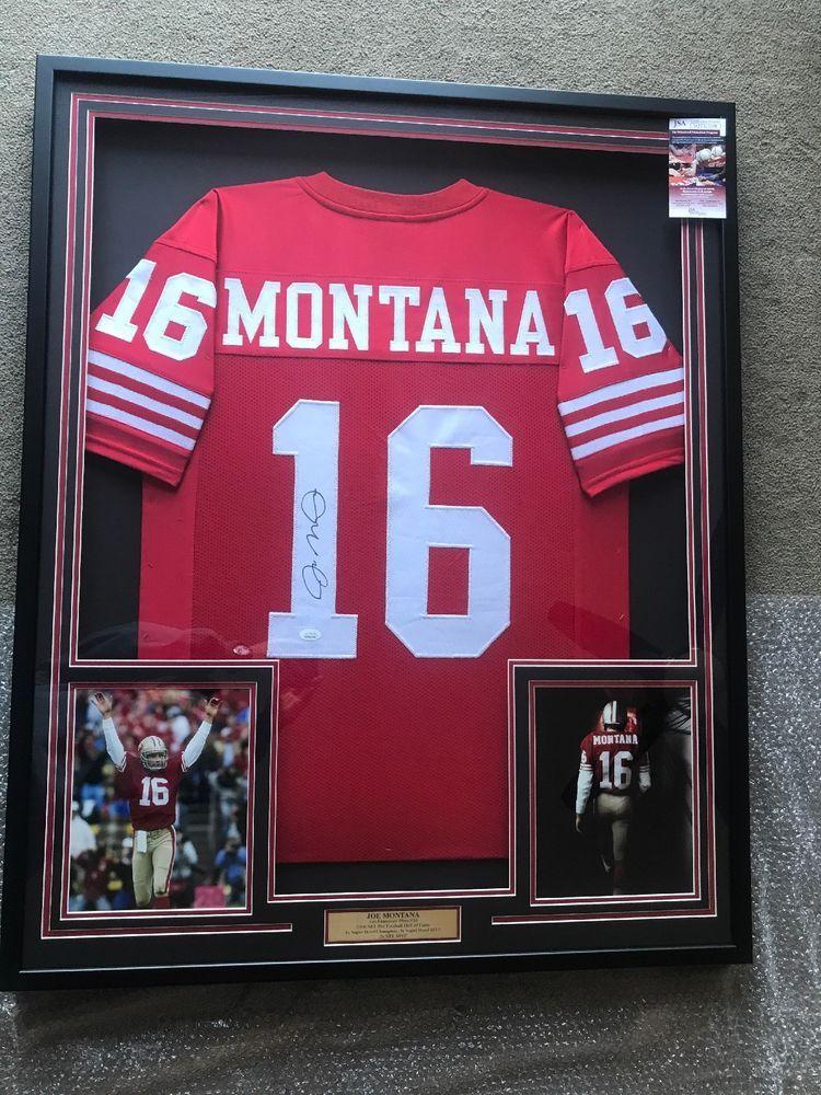 new product e64f4 35315 Joe Montana Autograph Signed 49ers Red Jersey Framed JSA ...