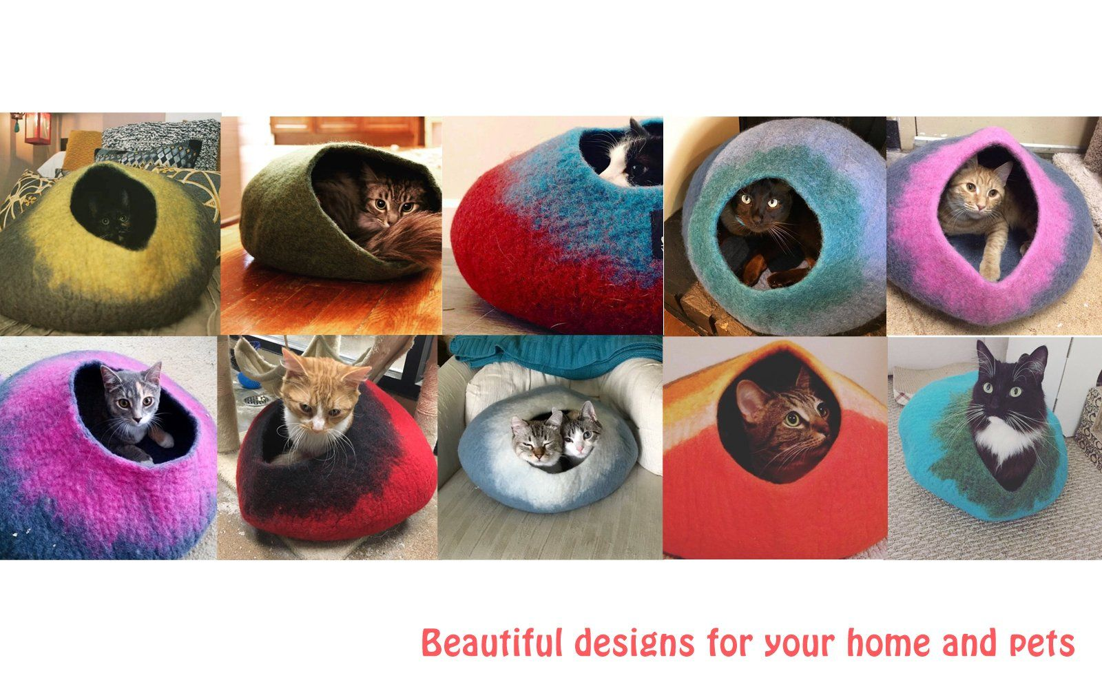 Cat Cave Co Luxury Felted Wool Hand Made Cat Beds
