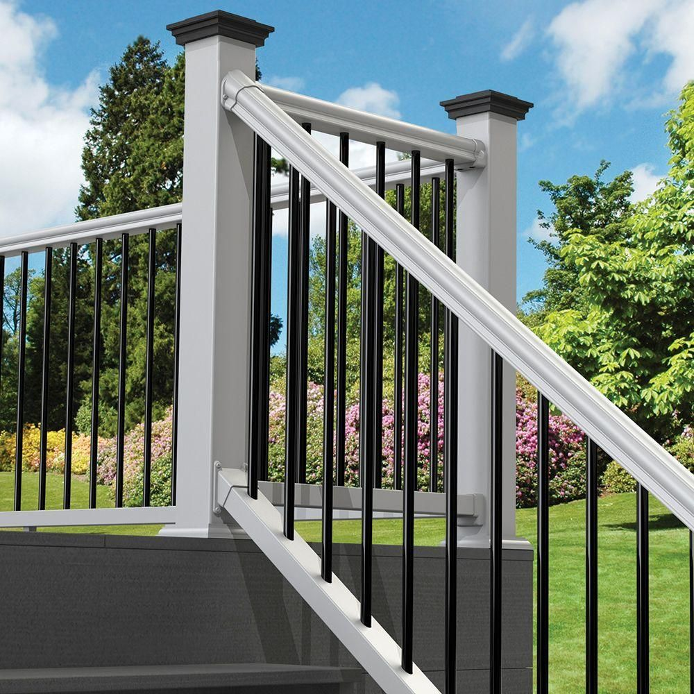Pin By Melissa King On Master Deck Ideas In 2020 Porch Vinyl | Home Depot Metal Spindles | Rail Kit | Oil Rubbed Bronze | Aluminum | Handrail | Staircase