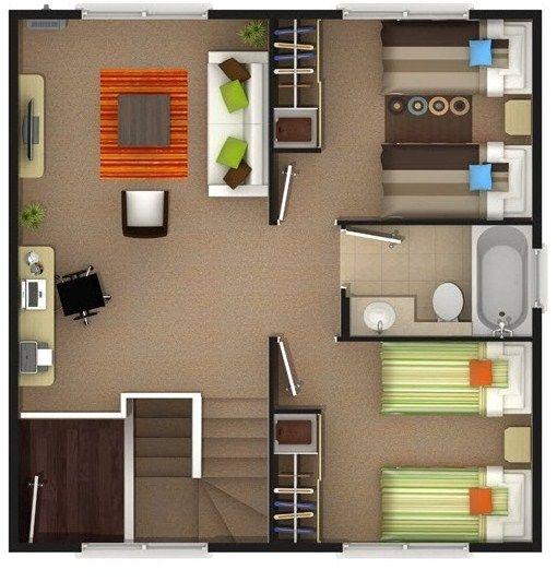 Planos de casas de 2 pisos de 100 metros cuadrados casa for Piso 60 metros cuadrados 3 habitaciones