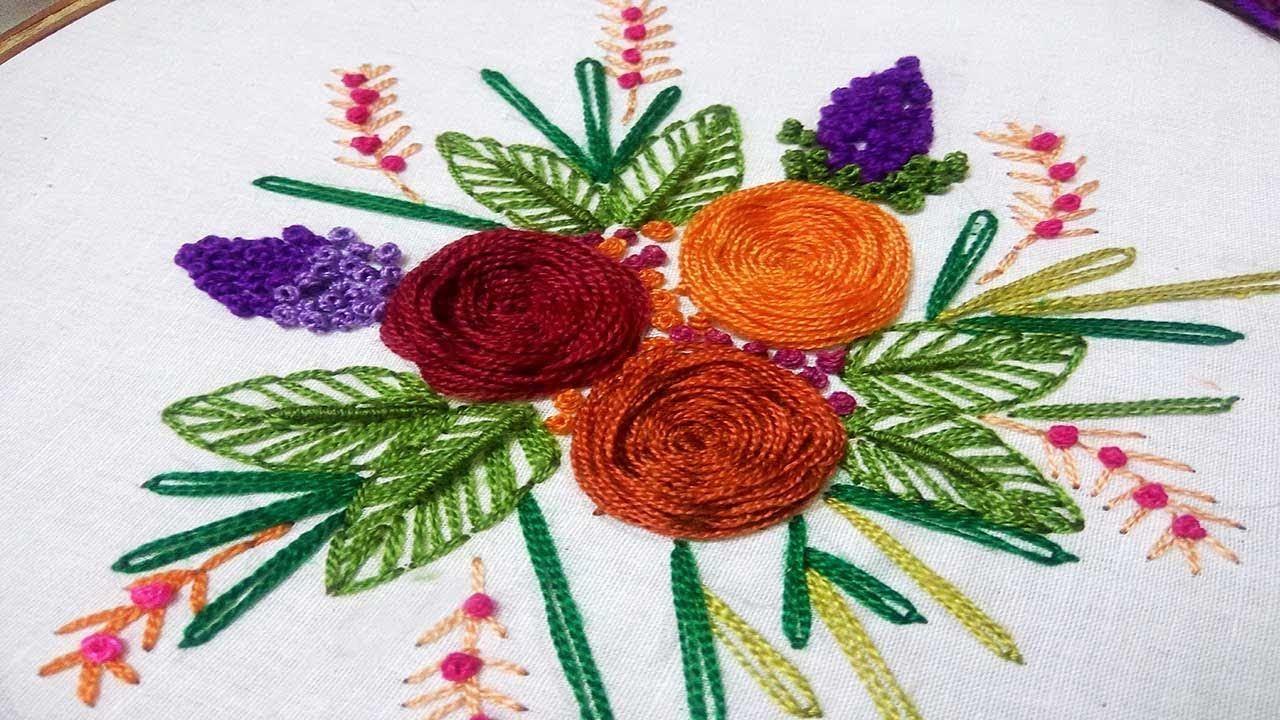 Hand Embroidery Designs | Rosette stitch with flower design | Spider ...