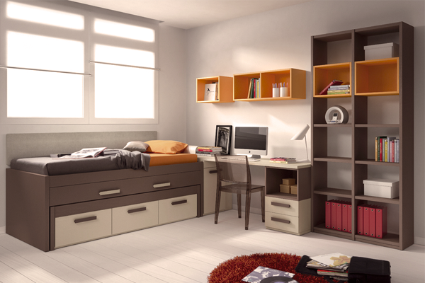 Mueble melamina marron y amarillo muebles de melamina for Muebles modulares juveniles