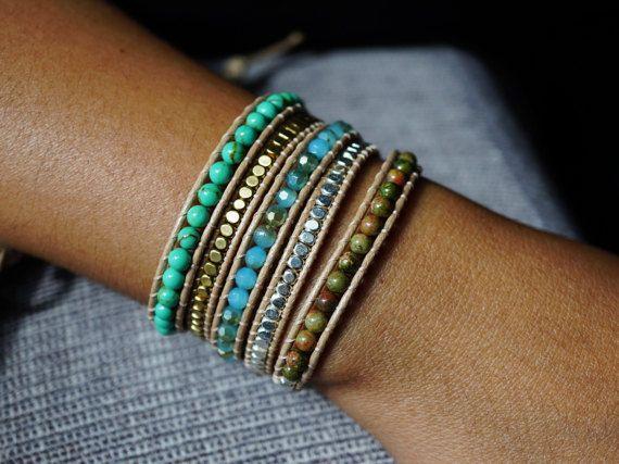 5x Turquoise Blue Wrap Beaded Bracelet Unakite Crystal
