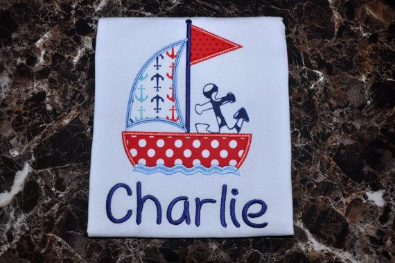 Anchor Sailboat Applique Kids Shirt  Kids by TCPassionateStitches, $20.00